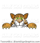 Vector Illustration of a Cheetah Jaguar or Leopard Looking over a Blank Sign by Toons4Biz