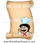 Vector Illustration of a Chef on a Parchmennt Scroll Sign by Visekart