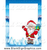 Vector Illustration of a Christmas Border of Santa and a Present with a Winter Landscape Around White Space by Visekart