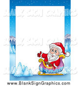 Vector Illustration of a Christmas Border of Santa in a Sleigh with a Winter Landscape Around White Space by Visekart