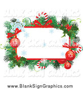 Vector Illustration of a Christmas Frame with Branches, Candy Canes, Snowflakes, Bows and Baubles by Pushkin