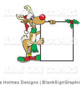Vector Illustration of a Christmas Reindeer Holding a Blank Sign by Dennis Holmes Designs
