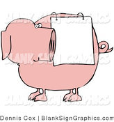 Vector Illustration of a Chubby Pig Looking Back at a Blank Sign Draped on His Side by Djart