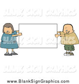 Vector Illustration of a Chubby White Boy and Girl Holding a Blank White Sign by Djart