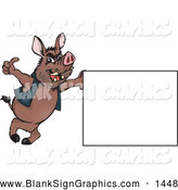 Vector Illustration of a Chubby Wild Hog Leaning on a Sign and Giving the Thumbs up by Dennis Holmes Designs