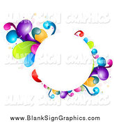 Vector Illustration of a CircleFrame Bordered in Rainbow Splashes by BNP Design Studio