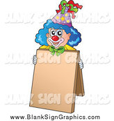 Vector Illustration of a Circus Clown with a Blank Sign Sandwich Board by Visekart