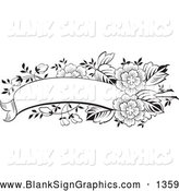 Vector Illustration of a Coloring Page of a Blank Black and White Flower Text Box Banner by Pauloribau