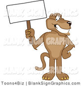 Vector Illustration of a Cougar Holding a Blank Sign by Toons4Biz