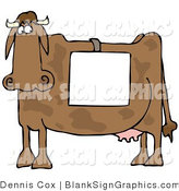 Vector Illustration of a Cow Wearing a Blank Sign by Djart