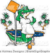 Vector Illustration of a Crocodile Leaning Against a Pole with a Blank Sign by Dennis Holmes Designs