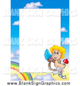 September 23rd, 2014: Vector Illustration of a Cupid and Sky Border Around White Space by Visekart