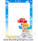 Vector Illustration of a Cupid and Sky Border Around White Space by Visekart