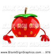Vector Illustration of a Curious 3d Strawberry Character Pointing down and Standing Behind a Blank Sign by Julos