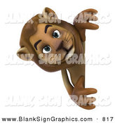 Vector Illustration of a Curious Lion Character Looking Around a Blank Sign by Julos