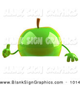 Vector Illustration of a Cute 3d Green Apple Character Giving the Thumbs up and Standing Behind a Blank Sign by Julos