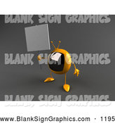 Vector Illustration of a Cute 3d Yellow Square Tele Character Holding up a Blank Sign by Julos