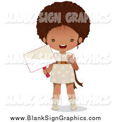 Vector Illustration of a Cute Black Girl Holding a Blank Sign by Melisende Vector