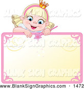 Vector Illustration of a Cute Blond Fairy Princess Peeking over a Blank Sign by Pushkin