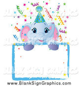 Vector Illustration of a Cute Blue Elephant Wearing a Party Hat, Looking over a Blank Starry Sign with Colorful Confetti by Pushkin