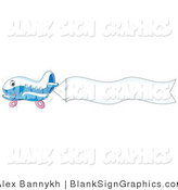Vector Illustration of a Cute Blue Plane Flying a Blank Sign Banner by Alex Bannykh