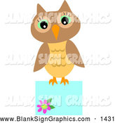 Vector Illustration of a Cute Brown Owl Perched on a Blank Blue Sign by