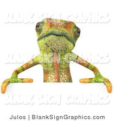 Vector Illustration of a Cute Chameleon Lizard Character Standing Behind a Blank Sign by Julos