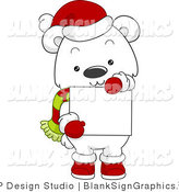 Vector Illustration of a Cute Christmas Polar Bear Holding a Blank Sign by BNP Design Studio
