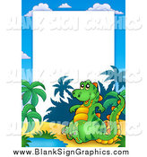 Vector Illustration of a Cute Dinosaur and Tropical Border Around White Space by Visekart