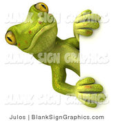 Vector Illustration of a Cute Gecko Character Looking Around a Blank Sign by Julos