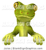 Vector Illustration of a Cute Green Gecko Character Standing Behind a Blank Sign by Julos