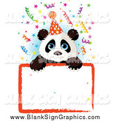 Vector Illustration of a Cute Party Panda over a Blank Party Sign with Colorful Confetti by Pushkin