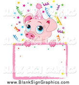 Vector Illustration of a Cute Pig Birthday Invitation with a Blank Sign by Pushkin