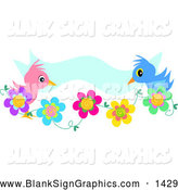 Vector Illustration of a Cute Pink and Blue Bird Couple on Flowers, with a Blue Banner by
