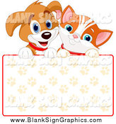 Vector Illustration of a Cute Puppy Dog and Orange Kitten Smiling over a Blank Paw Print Sign by Pushkin