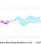 Vector Illustration of a Cute Purple Bird Flying with a Wavy Blue Banner by