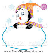 Vector Illustration of a Cute Winter Penguin Looking over a Sign with Snowflakes by Pushkin