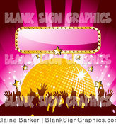 Vector Illustration of a Dancing Crowd in Front of a Yellow Disco Ball with Gold and White Stars and a Blank Sign by Elaineitalia