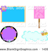 Vector Illustration of a Digital Collage of Various Blank Signs by
