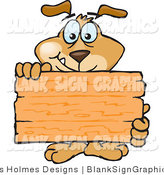 Vector Illustration of a Dog Holding up a Blank Wooden Sign by Dennis Holmes Designs