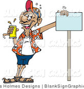 Vector Illustration of a Drunk Man Holding a Can of Beer and Leaning on a Blank Sign by Dennis Holmes Designs