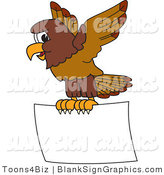 Vector Illustration of a Falcon Flying a Blank Sign by Toons4Biz