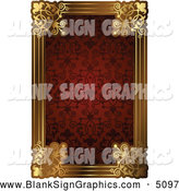 Vector Illustration of a Fancy Red Pattern and Gold Frame with Copyspace by AtStockIllustration