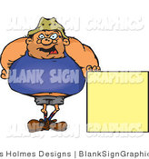 Vector Illustration of a Fat Man Standing by a Blank Sign by Dennis Holmes Designs