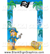 Vector Illustration of a Female Pirate Border Around Text Space by Visekart