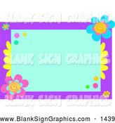 Vector Illustration of a Feminine Blue and Purple Floral Border with Blank Space by