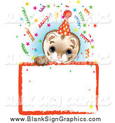 Vector Illustration of a Ferret Wearing a Party Hat, Looking over a Blank Starry Sign with Colorful Confetti by Pushkin