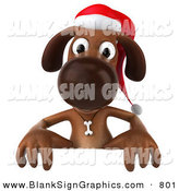 Vector Illustration of a Festive 3d Brown Christmas Dog Character Behind a Blank Sign by Julos