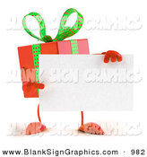 Vector Illustration of a Festive 3d Red Present Character Holding a Blank Business Card by Julos