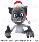 Vector Illustration of a Festive Christmas Siamese Pussy Cat Character Giving the Thumbs up and Standing Behind a Blank Sign by Julos